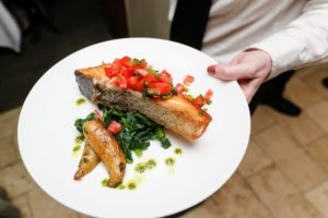 There was also a pan-seared salmon topped with Tuscan tomato salad served over sauteed spinach and roasted potatoes. (Photo by Neil Rasmus, BFA)