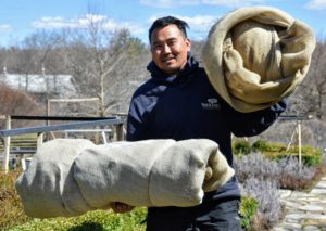 Here is Chhewang carrying two rolls of burlap to the truck for storage.