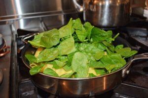 And then the spinach is added and cooked another minute until the spinach is wilted.