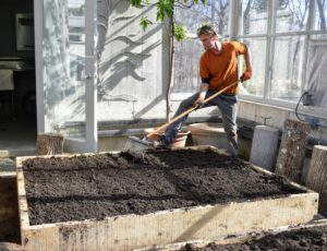 Using a Tine Weeding Rake from Johnny's Selected Seeds, Gavin carefully rakes the soil evenly over the beds and removes any organic debris. This rake is great for tine weeding as well as cultivating in tight areas. https://www.johnnyseeds.com/