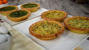 Among the day's offerings, my quiches - each shipment includes three 10.5-ounce quiches - a choice of Spinach and Cheddar or Caramelized Leek with Gruyere Cheese.