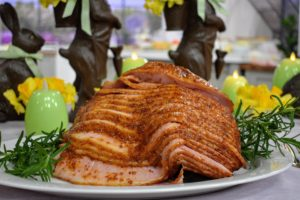 Also featured in the hour - my Spiral Sliced Ham. This is one of my favorites. It's a seven to eight-pound bone-in ham. We also send you recipe cards for the glaze - a cognac and brown sugar glaze and an apricot grainy mustard and apple cider vinegar glaze.