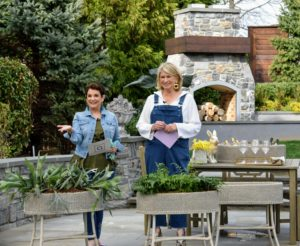 Here, Jane and I are showing off my wonderful Faux Wicker Plant Stand. I love this planter. The planter is like a trough. It has four drainage holes at the bottom and measures 29-inches across by 13-inches wide by 25-inches tall.