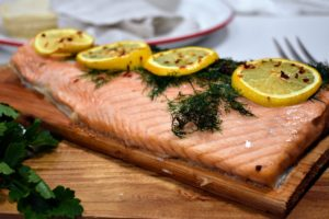 This is my Atlantic Salmon Fillet. This year, we offer three-pounds of salmon cut into two 1.5 pound pieces so you can serve both for a big gathering, or just half for a smaller group. I love this option.