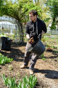 Ryan selects specific places for the bulbs and puts them down in small clumps where they will be planted. This is always a good idea before digging the holes so they can be positioned where they will look best.