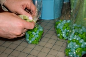 Easter always includes jelly beans. This year, we bagged blue and green colored jelly beans for our Easter baskets.