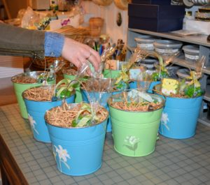 Some of our baskets are embellished with Martha Stewart Crafts paints and stickers from Michaels. These baskets will be given to the children and used for collecting eggs at the hunt. https://www.michaels.com/crafts-and-hobbies/martha-stewart-crafts/938473843