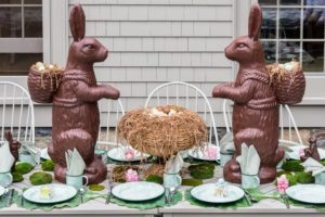 And don't forget the children - their table was set with these larger than life-sized faux chocolate bunny figurines. These were 36-inch chocolate resin bunnies were the sell-out on QVC this spring. They are replicas of ones that my friend, Steve Girard, gave me. They look so fun on the table flanking a bowl of eggs.