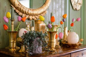 Guests love the antique German blown glass flowers I take out every spring - so fragile, and rare, but they add such lovely color to any room.