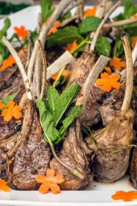We also served these juicy lamb chops, also from Pat LaFrieda. Pierre roasted them and decorated them with herbs and cutout carrot flowers, then served them with mint jelly.