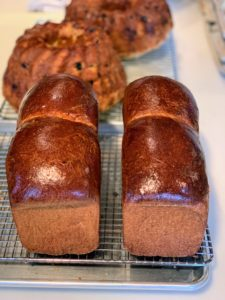 "I made this delicious brioche from the new book, ""Baking at Republique"". See my Instagram page @marthastewart48 for more photos. Behind are my renditions of my mother's Easter babka."