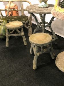 I am always drawn to anything faux bois. Fleur also had these fun faux bois stools.
