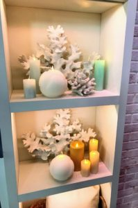 Here are more of the hexagonal candles in a bookcase - so safe anywhere and they offer such a pleasing and soft glow.