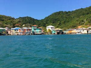 Here is a closer view of Roatan's colorful village coastline.