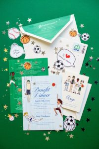 The event's program, place cards, and decorations were all personalized and drawn by Darcy Miller Designs. The invitations were printed by Cheree Berry Paper. (Photo by Scott Rudd @scottruddevents) https://chereeberrypaper.com/ http://www.darcymillerdesigns.com/