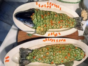 Every Easter, I always serve salmon from True North, one of my favorite sources for fish. These were filleted and then poached and then reconstructed without the bones. The fish were decorated with cucumber slices and served with cucumber sauce. http://www.truenorthseafood.com