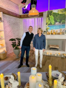 Here I am with QVC host, Alberti Popaj. We are on set with a large selection of my flameless candles – they look great on any table, mantel or shelf. My daughter and I both love these candles and use them all the time to illuminate various rooms.