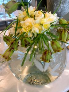 So many beautiful Narcissus are up around the farm. I cut some to place with the nodding fritillaria in this large round bowl. This was my favorite flower arrangement.