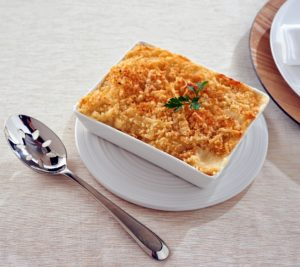 """Another highlight - my three sides. These three favorites combine recipes developed by both me and my mother, """"Big Martha"""". One of them is this Macaroni & Cheese made with four different types of cheese."""