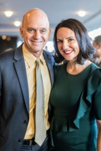 Rowdy Gaines, a three-time Olympic gold medalist is pictured here with Asphalt Green Board Co-Chair, Caroline Hriber. (Photo by Scott Rudd @scottruddevents)