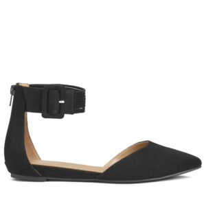 And this is the Town Car. This shoe is a very flattering two piece silhouette with a soft pointed toe and ankle strap and buckle. It comes in black micro suede, a blue micro suede and a tan micro suede. Plus, a zipper in the back makes them easy to put on and take off.
