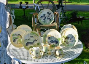 Dawn Hill Antiques had this whimsical set of woodland themed plates with rabbits frolicking through a garden - much better on plates than in real life. https://dawnhillantiques.com/