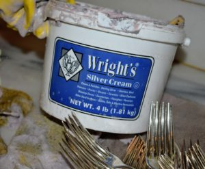 Wright's Silver Cream is a gentle all-purpose polish that works on all types of silver. It also works nicely on stainless steel and chrome and comes in a big tub. http://jawright.com/Silver-Clean-Polish/Silver-Cream-4-lb