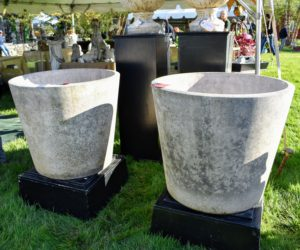 There were many different kinds of antique planters – made from every material known, such as marble, stone, clay, and metal. Here are two that I love because of their size and shape - I purchased them both from Passports Antiques. http://www.passportscollection.com/