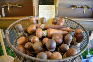 Here is a basket of dibbers for planting seeds and bulbs.