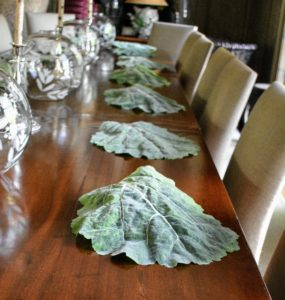 For this dinner, I decided to use these fun cabbage placements for our table setting.