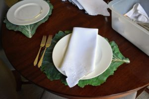 They look great under the more formal white dinner plates and napkins.