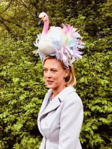 Jennifer Worthington wore this colorful and interesting swan hat.