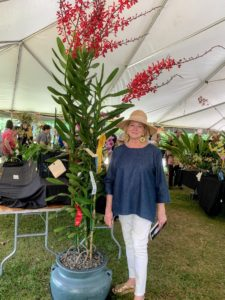 Here I am with a very tall orchid that caught my eye - it was more than 10-feet tall. The orchids in this tent have been submitted for judging and are on display throughout the three-day event.