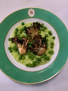 Here is the first course - a delicious English pea risotto with Maitake mushrooms. The mushroom is commonly known among as hen of the woods, ram's head, and sheep's head.