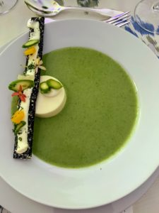 I captured this photo of the first-course asparagus soup - it was delightful.