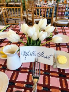 Each table was dressed with beautiful seasonal flowers, such as these creamy white tulips.