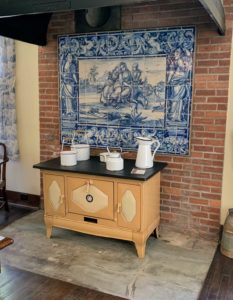 The tile plaque is an 18th-century azulejo, or Portuguese glazed tile piece, likely inspired by Dutch tin-glazed earthenware, Delft pottery. Charles Deering's Spanish residence Maricel in Sitges, Spain, had a rooftop terrace and cloister filled with various azulejo works.