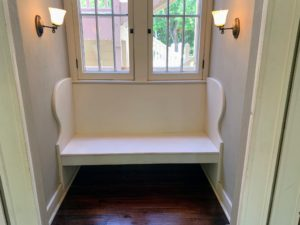 In one small alcove - this built-in bench, which is also original to the house.