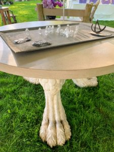 I took this photo of this interesting table with three large animal feet as its legs - so many interesting pieces this year.