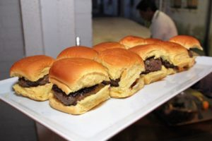 These wagyu sliders couldn't be served quickly enough - everyone loved them. (Photo provided by Unger Media for Mike's Organic)