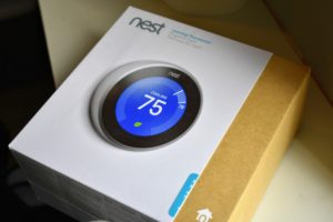 This is the latest Google Nest Learning Thermostat. It has new rings and a big, sharp display that automatically lights up when someone is near. It adapts as the seasons change and programs itself after a few days of regular use. I can adjust the temperature remotely from anywhere and because it saves information, it shows how energy is used every day in Energy History and every month in the Home Report.