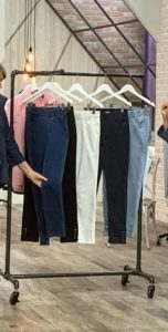 These jeans are my Knit Denim Pull-On Jeans with Snap Detail. I love these jeans, especially in the white - I wear them all the time. they come in dark indigo, light indigo, medium indigo, black and white.