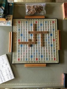 I love playing Scrabble® and this is my Scrabble® board, which is always set-up in my Living Hall. Cheryl and Gretchen, who help me take care of Skylands, spelled out this welcome message for me and my guests.
