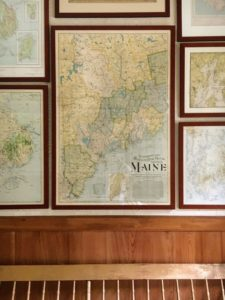 This is one wall of my Map Room - filled with all kinds of maps from Maine. I had them framed by Ahlblad's Frame Shop in Bar Harbor, owned by Raymond Strout.