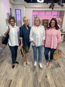 Here I am with three of the QVC models - Sioux, Amanda, and Adrienne - all of us in this great poplin or chambray style blouse.