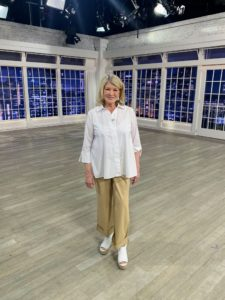 Here I am with the white poplin blouse and my Wide Leg Cuffed Chino Ankle Pants. These pants are also a great staple to any wardrobe. They're relaxed and so comfortable. And, you can wear them cuff-up or cuff-down.