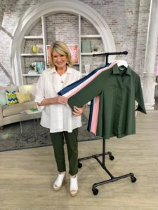Here I am with all the colors of this latest TSV- my Stretch Poplin/Chambray Button Front 3/4 Sleeve Hi-Low Hem Blouse. I love this blouse - it is so versatile and comes in a variety of colors. The poplin comes in crisp white, olive, and peony, while the chambray comes in two different shades of denim.