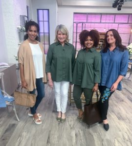 Three of the models and I stopped for this snapshot - wearing my denim jeans, Poplin/Chambray Button Front blouses and my Open Front Sweater Cardigan in almond. It was another successful and fun day at QVC. I hope you had a chance to see all these beautiful pieces yesterday, but if not please click on the web site links above for more information.