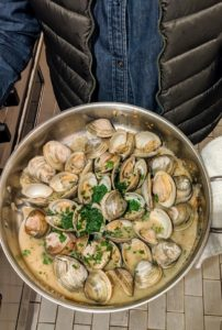 Our main dish included these fresh clams from Parsons Lobster and Seafood Shop in Bar Harbor.