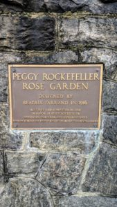 The Peggy Rockefeller Rose Garden was restored and completed in 1988 in honor of Peggy Rockefeller who loved to garden and felt strongly about conservation.